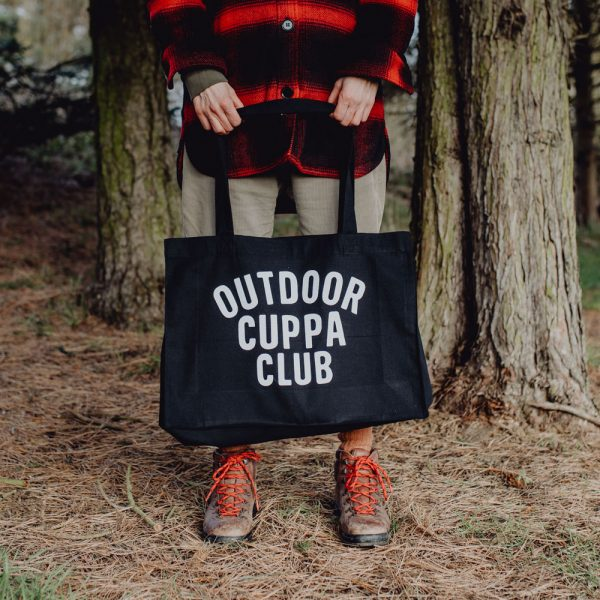OUTDOOR CUPPA CLUB Large black woven tote bag