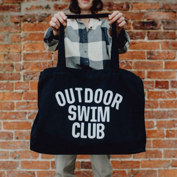 OUTDOOR SWIM CLUB Large black woven tote bag