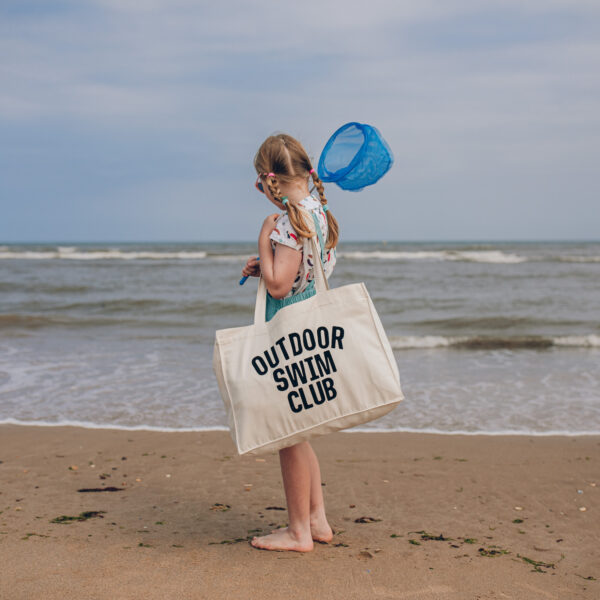 OUTDOOR SWIM CLUB Large natural woven tote bag